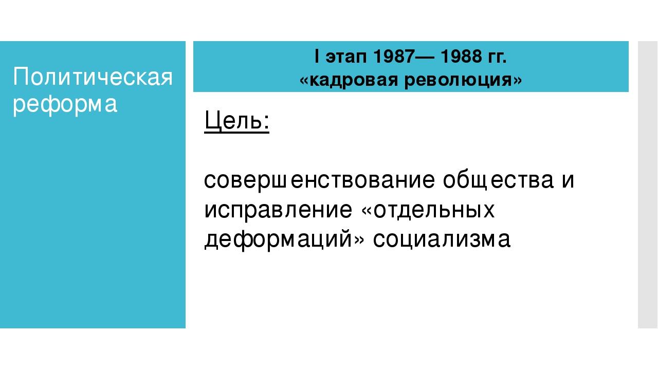 Политическая реформа I этап 1987— 1988 гг. «кадровая революция» Цель: соверше...
