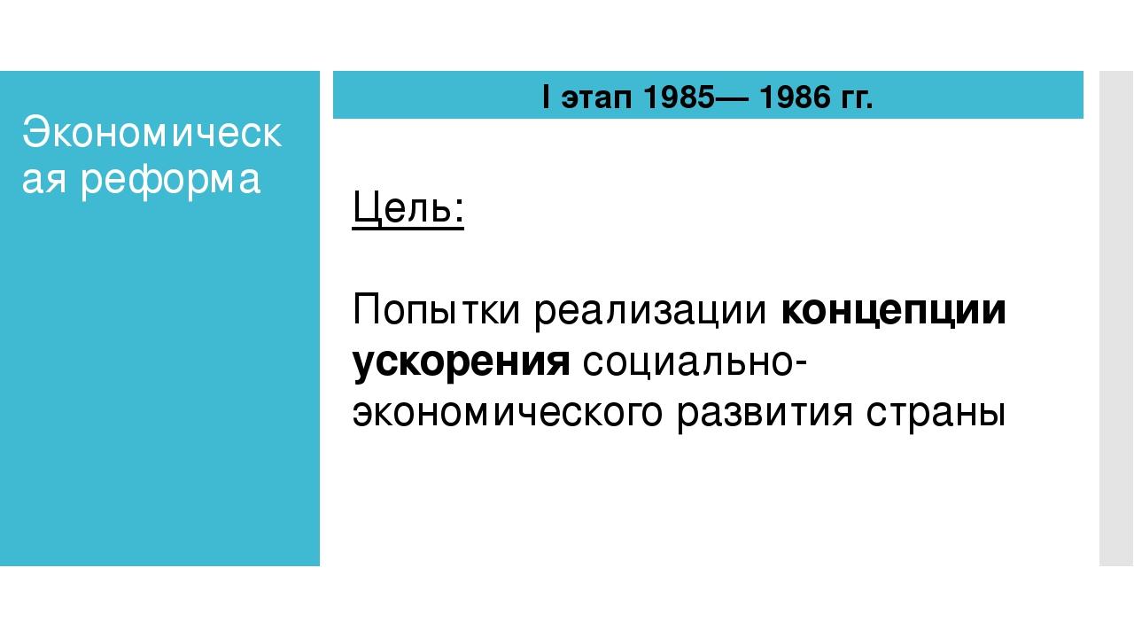 Экономическая реформа I этап 1985— 1986 гг. Цель: Попытки реализации концепци...