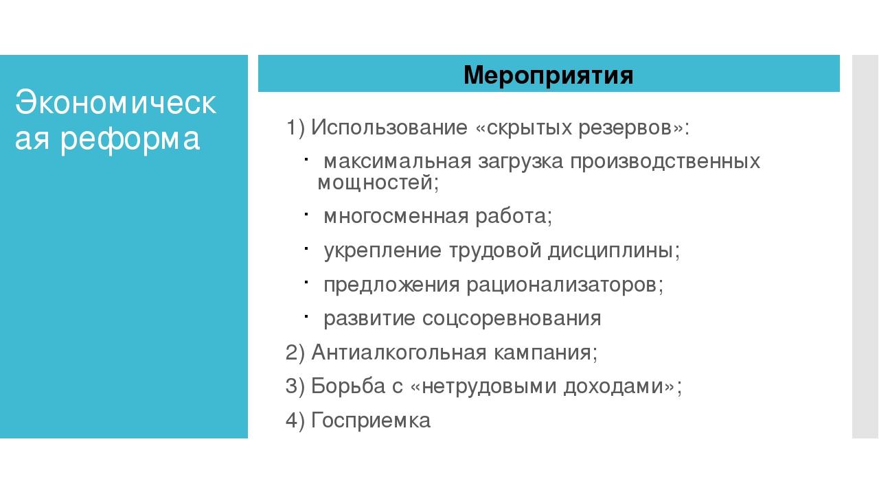 Экономическая реформа 1) Использование «скрытых резервов»: максимальная загру...