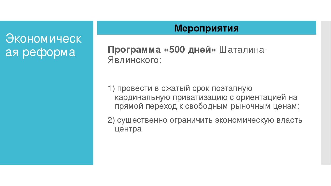 Экономическая реформа Программа «500 дней» Шаталина-Явлинского: 1) провести в...