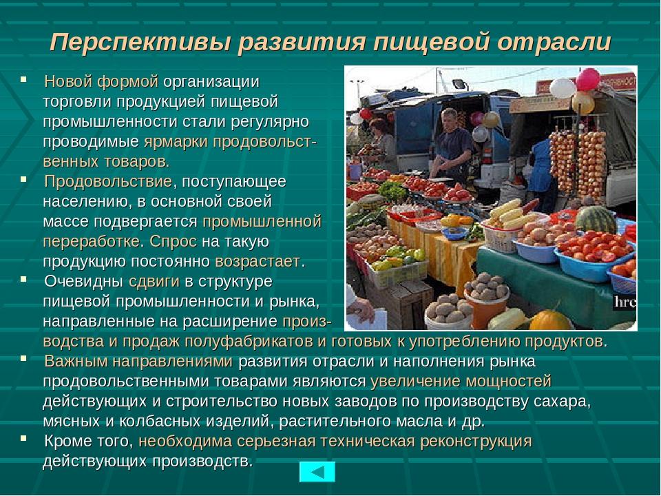 Перспективы развития пищевой отрасли Новой формой организации торговли продук...