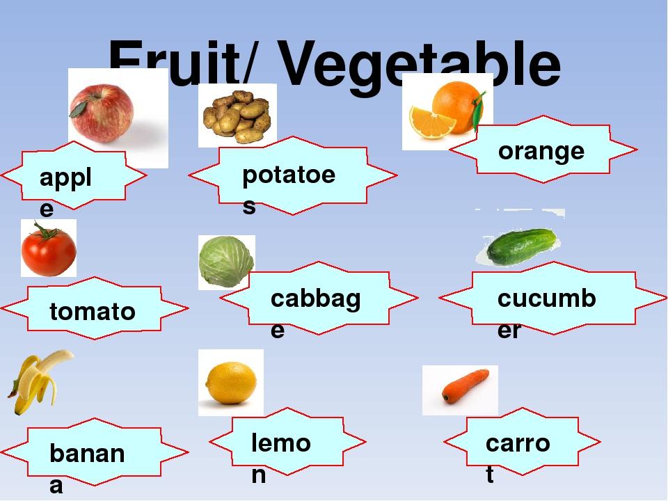 Fruit/ Vegetable apple potatoes orange tomato cabbage cucumber banana lemon c...