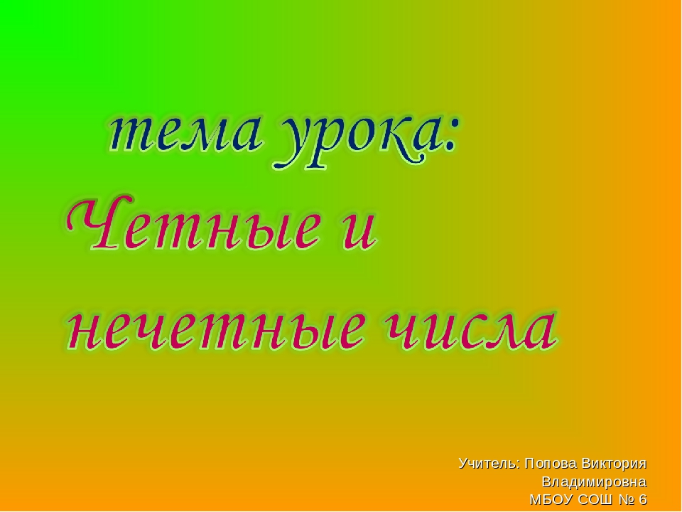 Учитель: Попова Виктория Владимировна МБОУ СОШ № 6