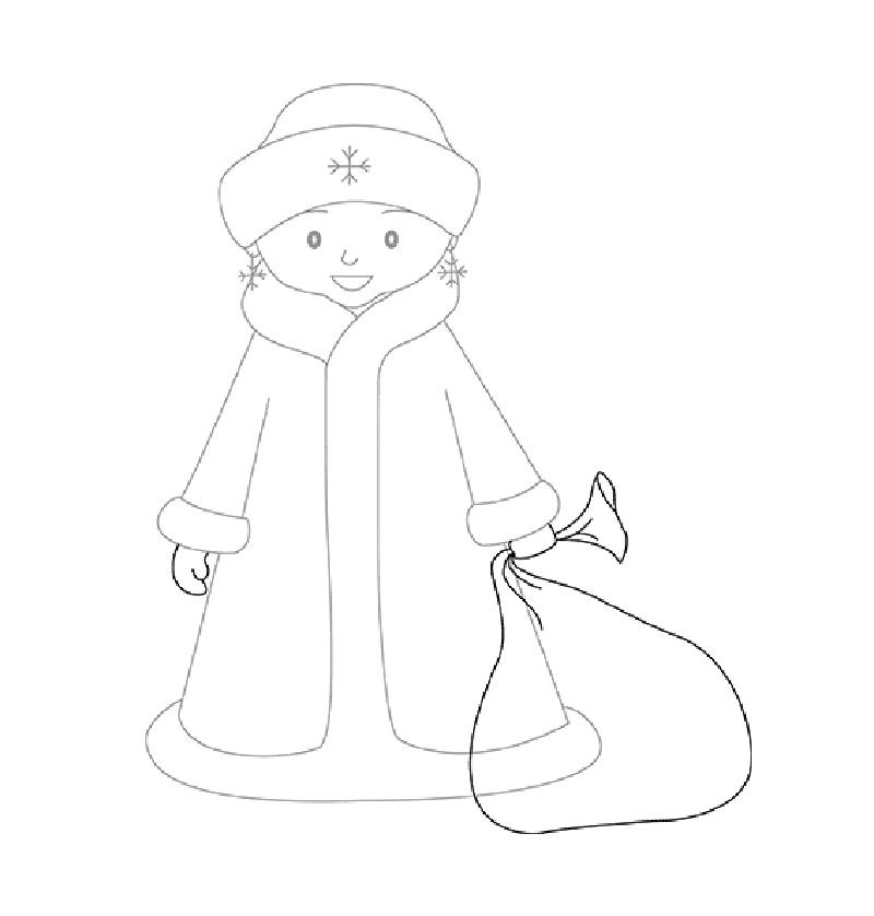 снегурочка картинки рисовать поэтапно карандашом