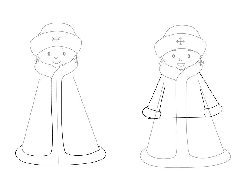 Дед мороз и снегурочка рисунок карандашом поэтапно для начинающих сословие