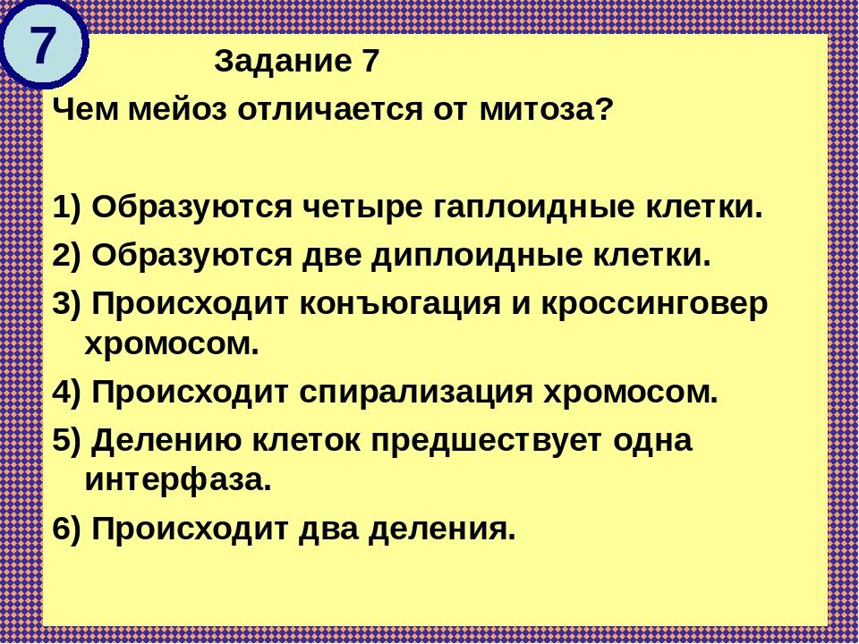 Задание 7 Чем мейоз отличается от митоза?  1) Образуются четыре гаплоидные...