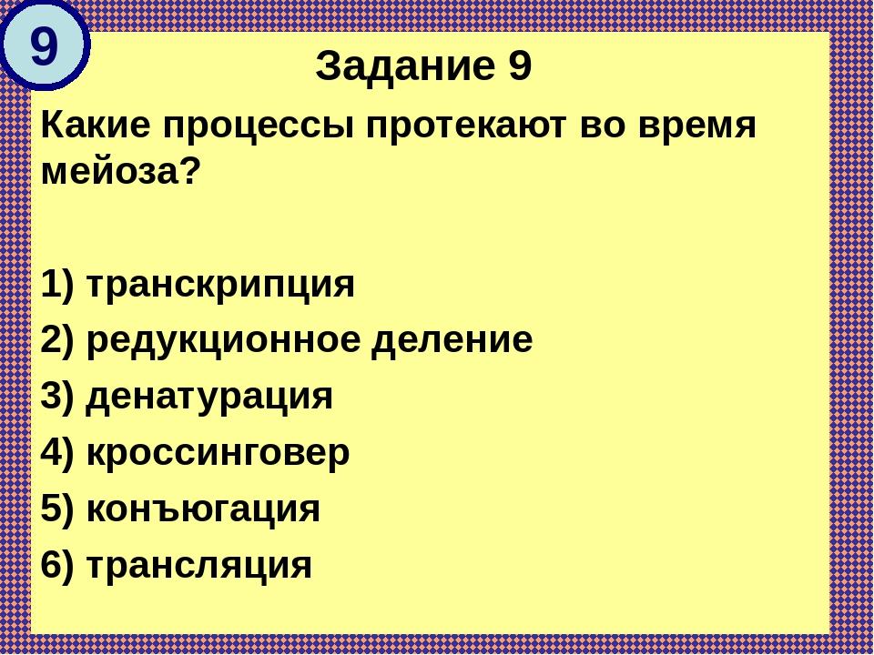 Задание 9 Какие процессы протекают во время мейоза? 1) транскрипция 2) редукц...
