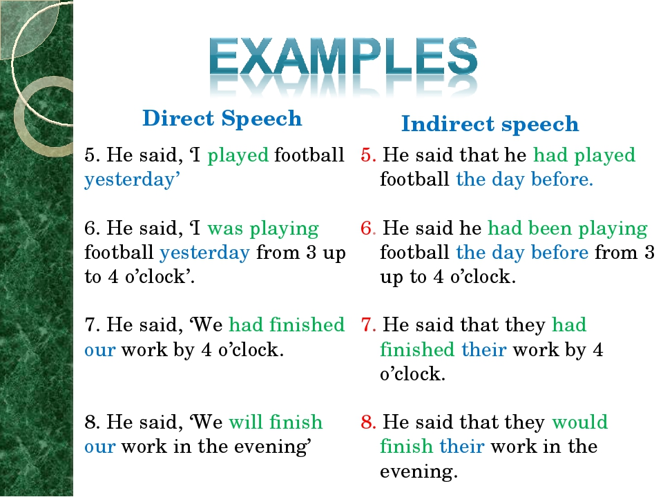 direct and indirect speech What are direct & indirect speech words spoken by a person can be reported to another person in two ways direct speech repeats, or quotes, the exact words spoken we may be reporting something that's being said now, or telling someone later about a previous conversation.