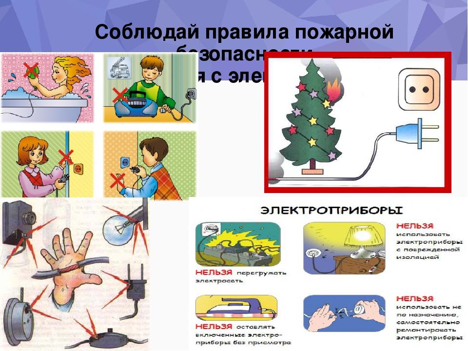 Правила пользования электроприборами в картинках