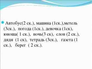 Автобус(2 ск.), машина (1ск.),метель (3ск.), погода (1ск.), девочка (1ск), юн