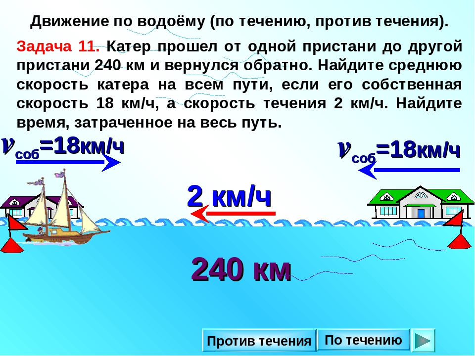 движение катера по реке и против течениявидеоролик