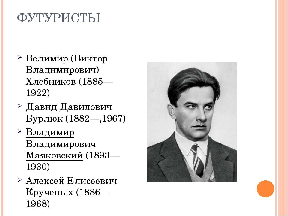 ФУТУРИСТЫ Велимир (Виктор Владимирович) Хлебников (1885—1922) Давид Давидович...