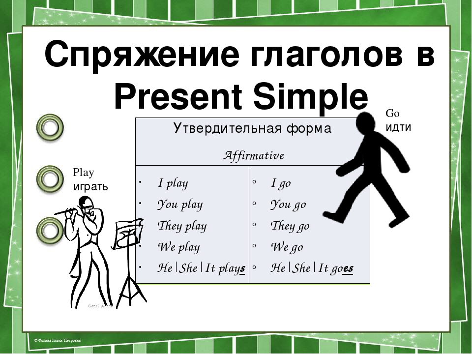 Настоящее время The Present Indefinite Simple Tense