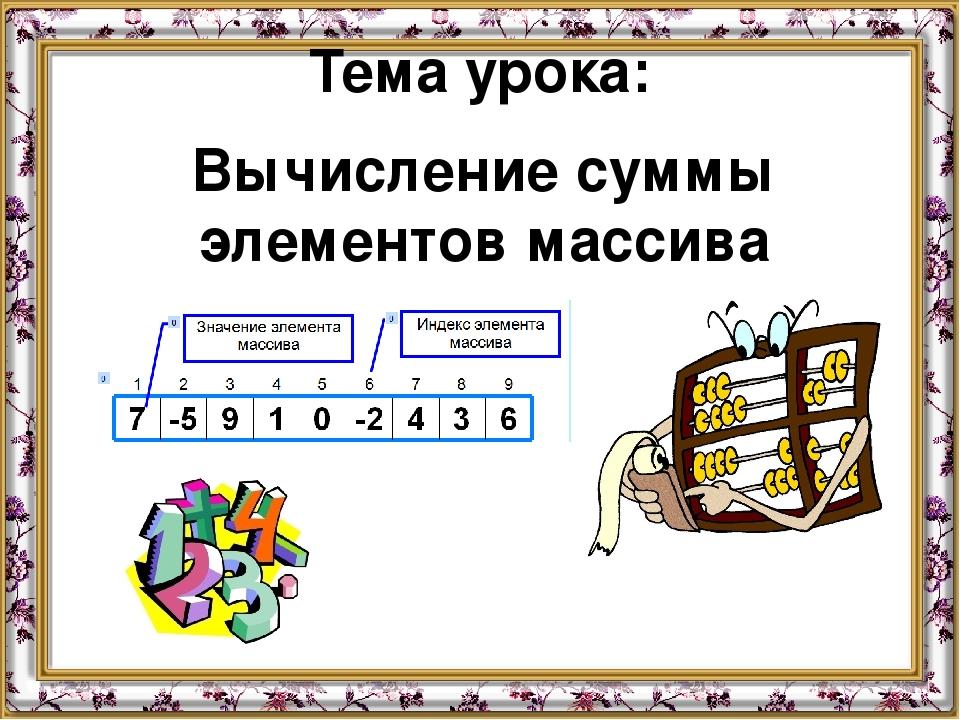 Тема урока: Вычисление суммы элементов массива