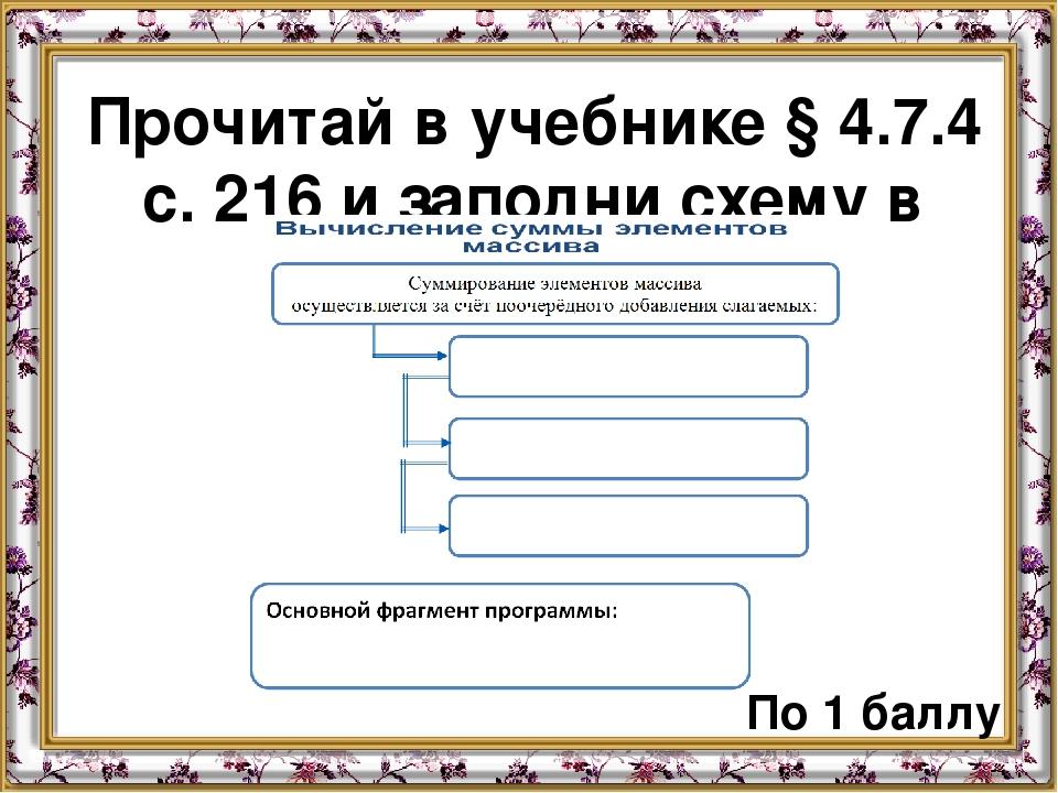 Прочитай в учебнике § 4.7.4 с. 216 и заполни схему в тетради: По 1 баллу По 1...