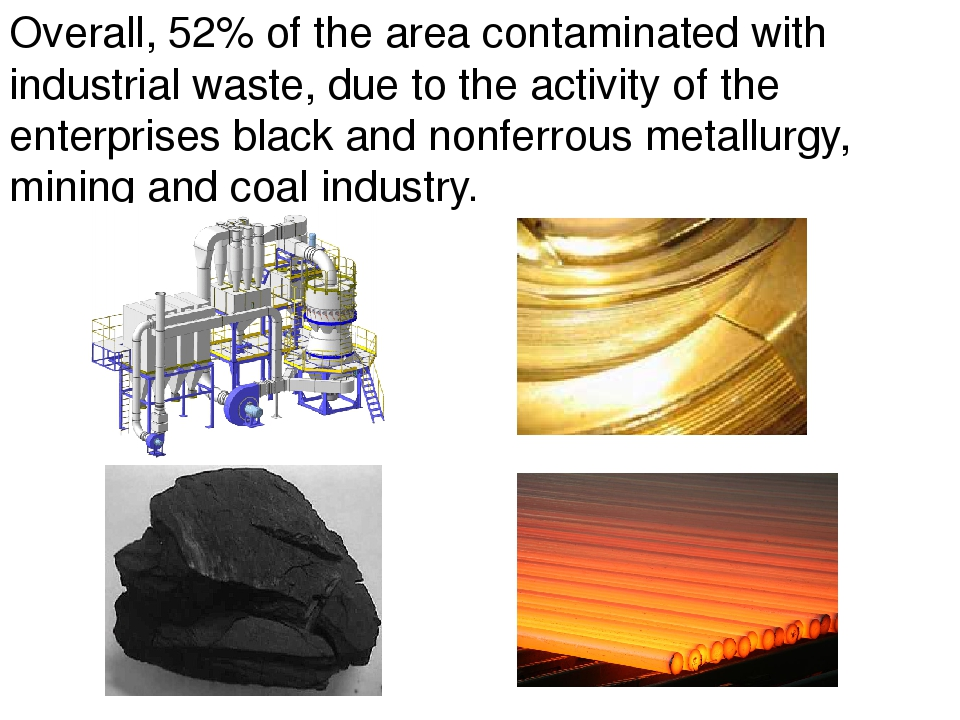 Overall, 52% of the area contaminated with industrial waste, due to the activ...