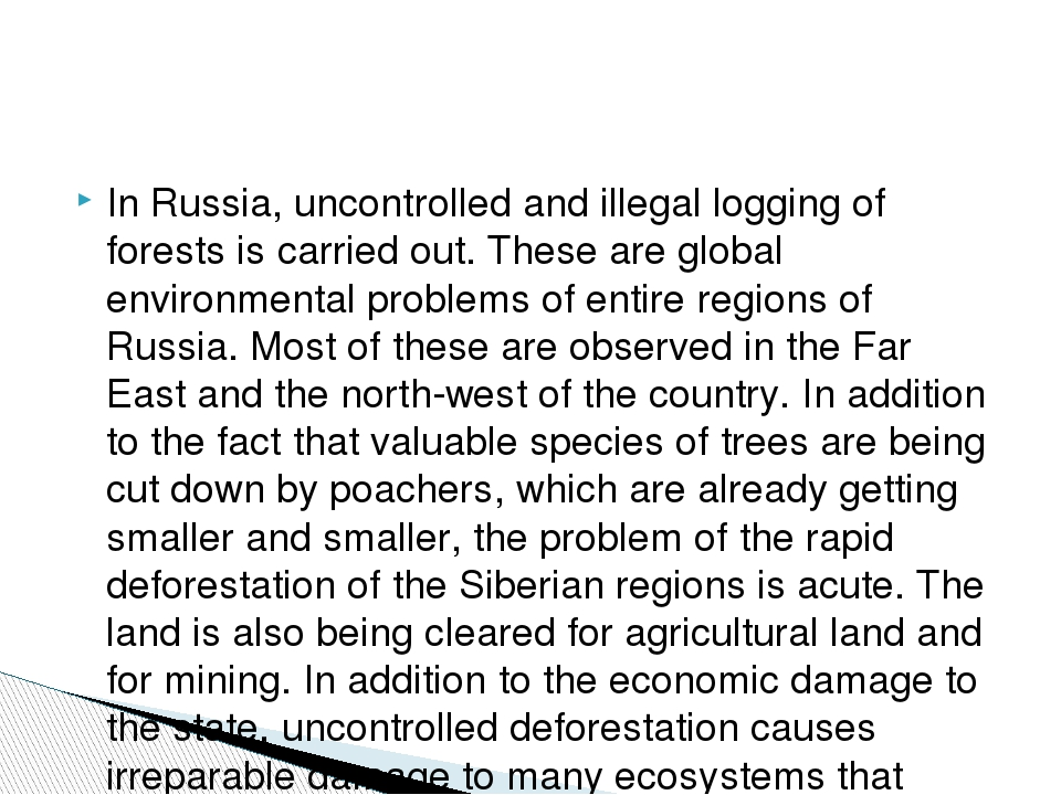 In Russia, uncontrolled and illegal logging of forests is carried out. These...