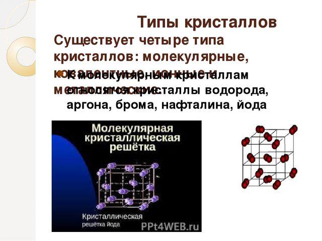 Типы кристаллов Существует четыре типа кристаллов: молекулярные, ковалентные...