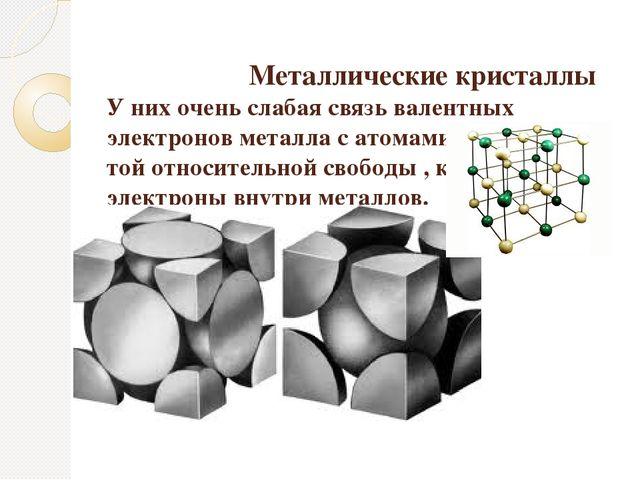 Металлические кристаллы У них очень слабая связь валентных электронов металл...
