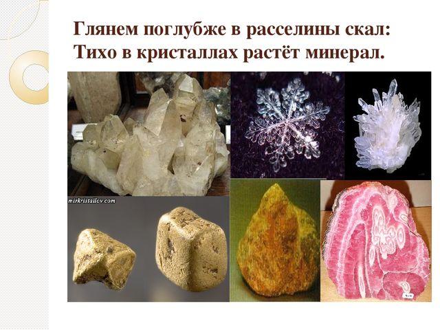 Глянем поглубже в расселины скал: Тихо в кристаллах растёт минерал. И.В.Гёте