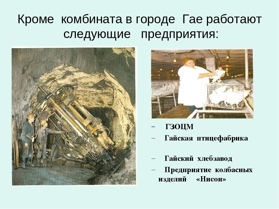 Кроме комбината в городе Гае работают следующие предприятия: ГЗОЦМ Гайская пт...