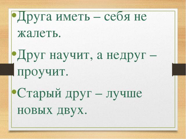 Друга иметь – себя не жалеть. Друг научит, а недруг – проучит. Старый друг –...