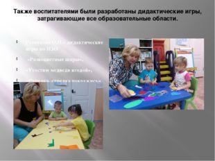 Также воспитателями были разработаны дидактические игры, затрагивающие все об