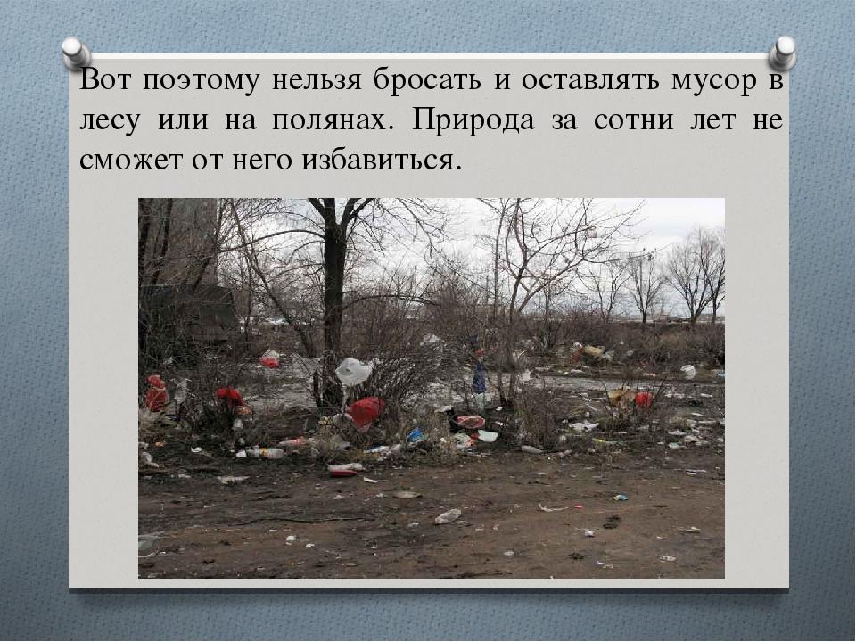 Вот поэтому нельзя бросать и оставлять мусор в лесу или на полянах. Природа з...