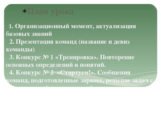1. Организационный момент, актуализация базовых знаний 2. Презентация команд...