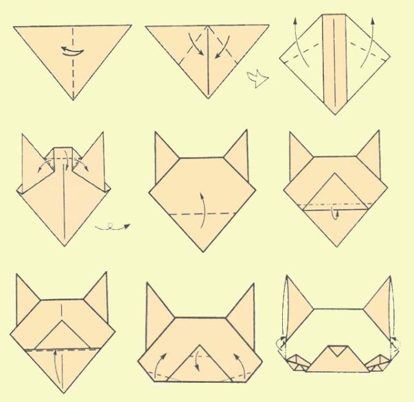 Оригами кошки из бумаг в картинках все пытаются