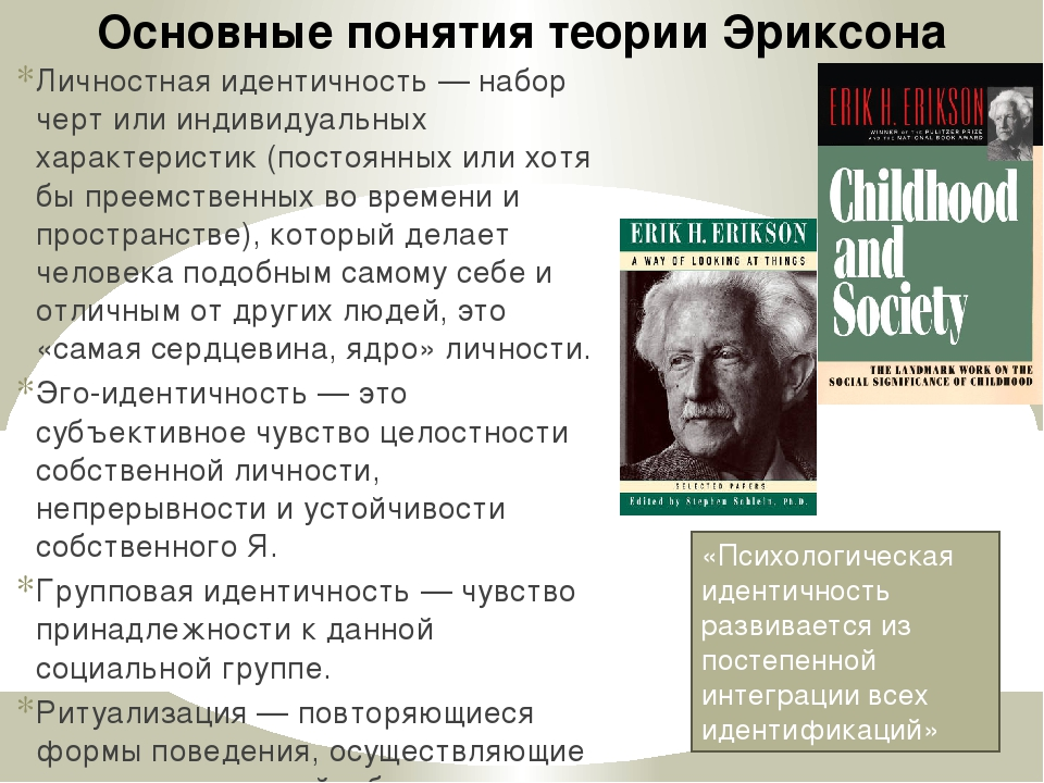 erickson theory Psychosocial development in infancy and early childhood what is psychosocial development erikson's theory of psychosocial development is one of the best-known theories of personality.