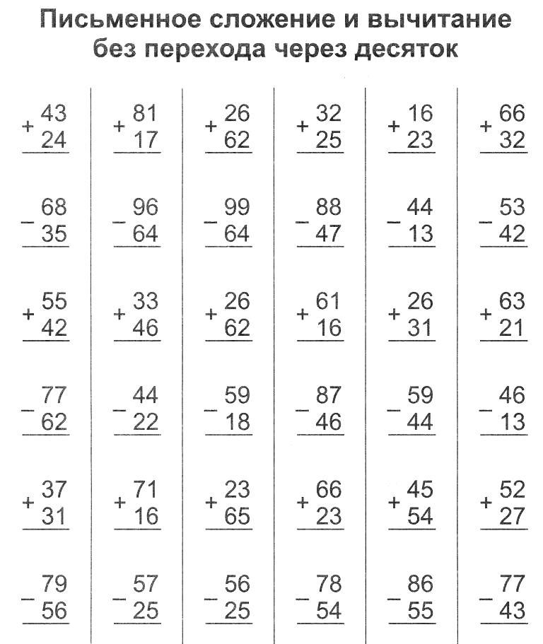 Примеры в столбик для второго класса