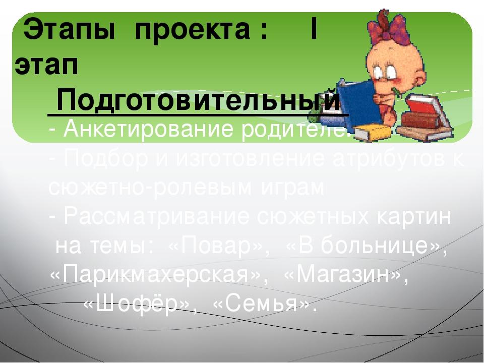 - Анкетирование родителей - Подбор и изготовление атрибутов к сюжетно-ролевым...