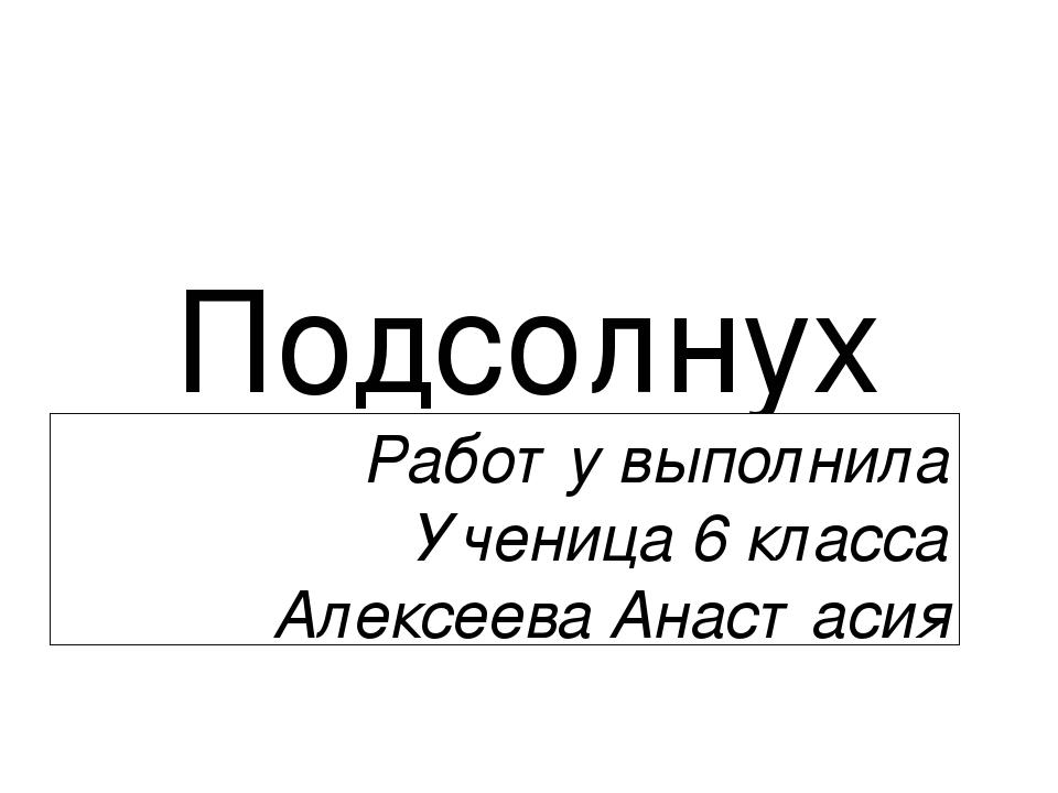 Подсолнух Работу выполнила Ученица 6 класса Алексеева Анастасия