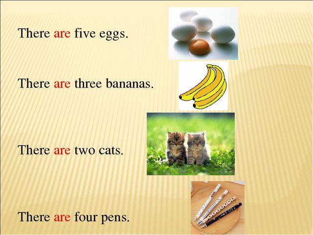 There are five eggs. There are three bananas. There are two cats. There are f...