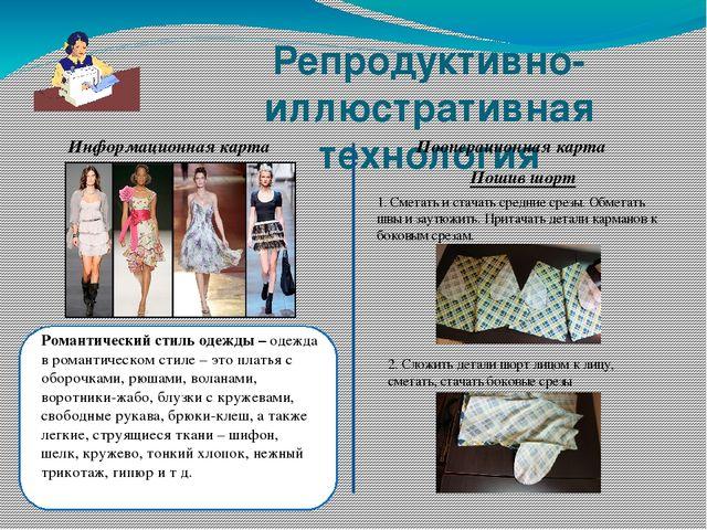 Репродуктивно-иллюстративная технология Информационная карта Пооперационная к...