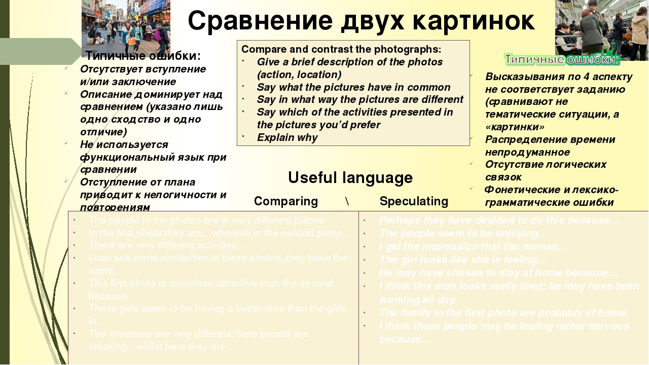 Описание картинки в егэ по английскому клише