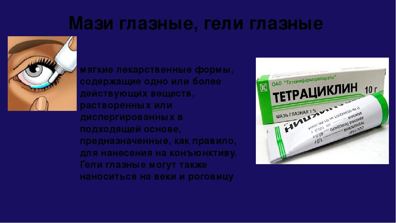Мази глазные, гели глазные мягкие лекарственные формы, содержащие одно или б...