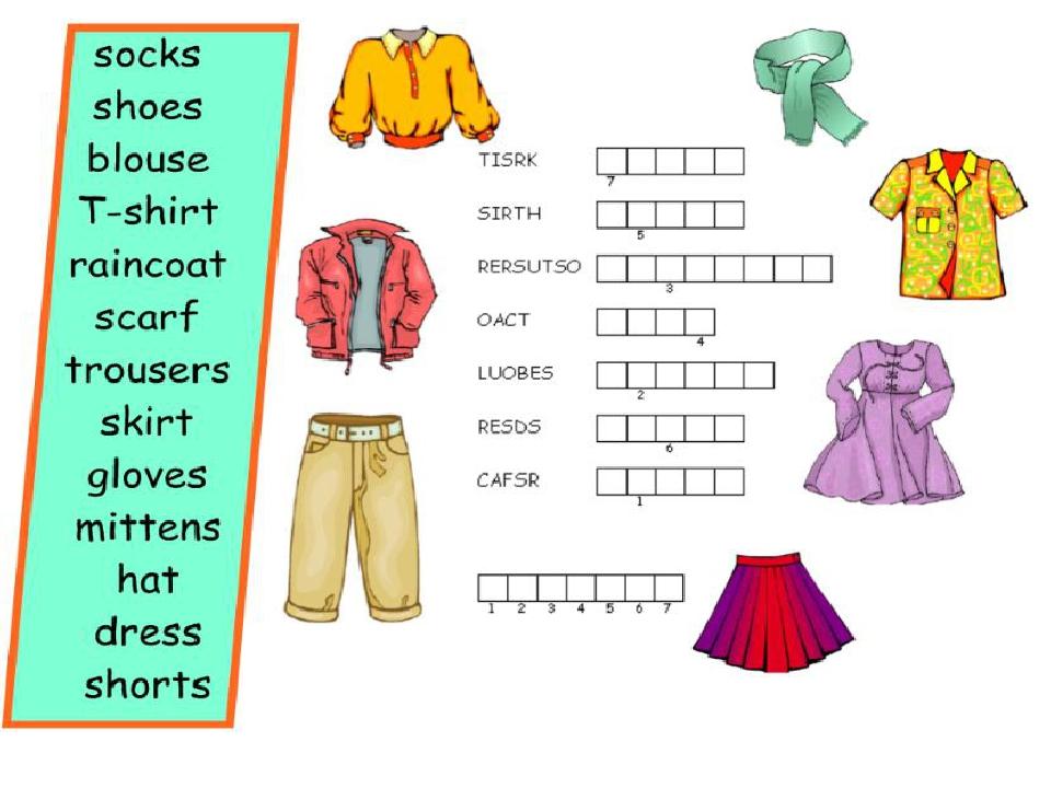 Тема одежда на английском языке для детей с картинками