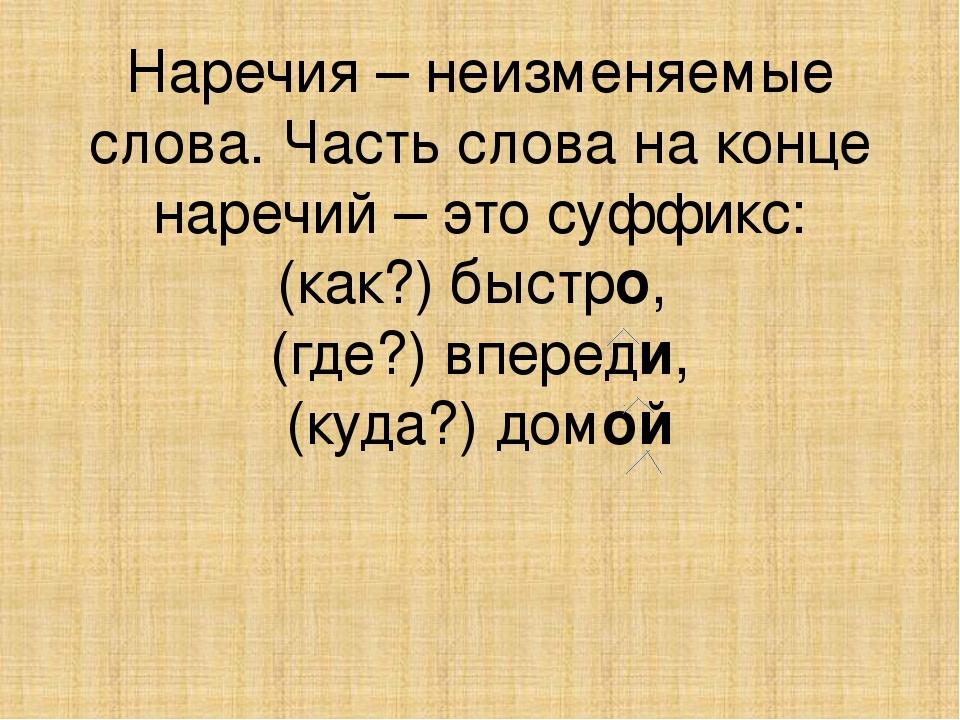 Наречия – неизменяемые слова. Часть слова на конце наречий – это суффикс: (ка...