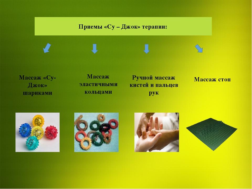 Приемы «Су – Джок» терапии: Массаж эластичными кольцами Ручной массаж кистей...