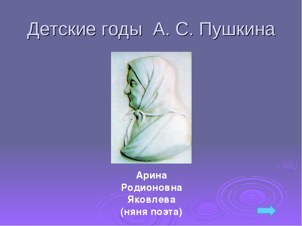 Детские годы А. С. Пушкина Арина Родионовна Яковлева (няня поэта)