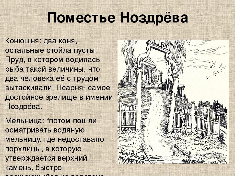Поместье Ноздрёва Конюшня: два коня, остальные стойла пусты. Пруд, в котором...