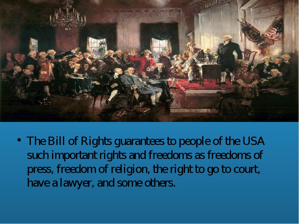 The Bill of Rights guarantees to people of the USA such important rights and...