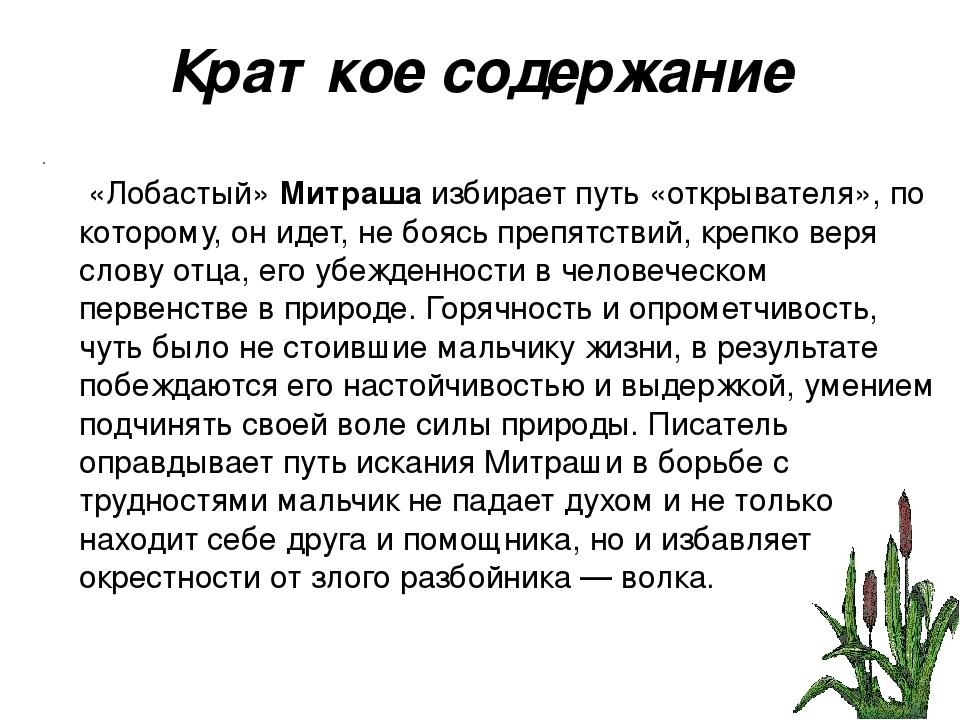 Краткое содержание «Лобастый» Митраша избирает путь «открывателя», по котором...
