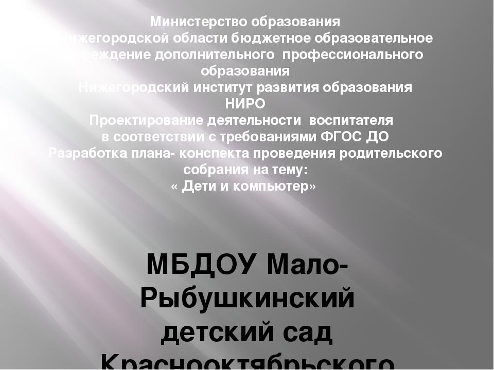 Министерство образования Нижегородской области бюджетное образовательное учре...