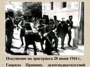 Покушение на эрцгерцога 28 июня 1914 г. Гаврило Принцип, девятнадцатилетний б