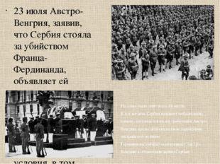 23 июля Австро-Венгрия, заявив, что Сербия стояла за убийством Франца-Фердина