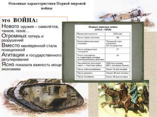 Основные характеристики Первой мировой войны это ВОЙНА: Нового оружия – само