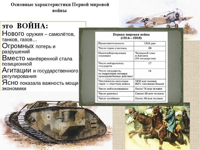 Основные характеристики Первой мировой войны это ВОЙНА: Нового оружия – само...
